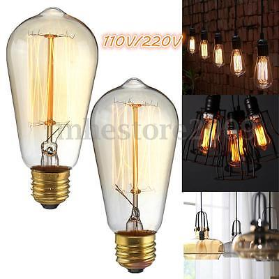 E27 60W ST58 Industrial Retro Vintage Filament Edison Light Bulb Lamp 220V/110V