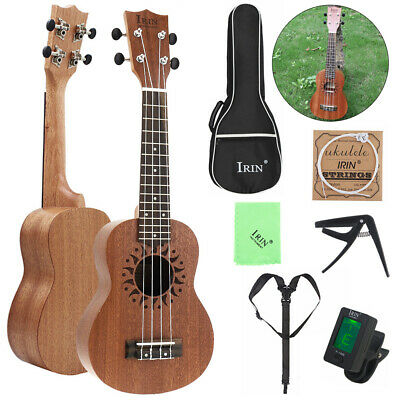Sapele Wood 21Inch Soprano Ukulele Four Strings + Tuner + Bag + Capo + String
