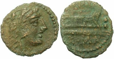FORVM Roman Republic Anonymous Late 2nd Century BC AE16 Quadrans Hercules / Prow