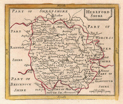 Antique county map of Herefordshire by John Seller / Francis Grose 1772