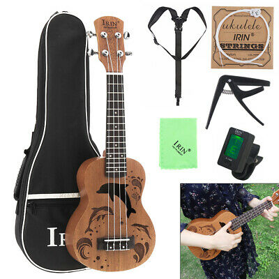 21Inch Soprano 4 Strings Guitar Ukulele Sapele Wood  + Bag + Tuner + String Capo
