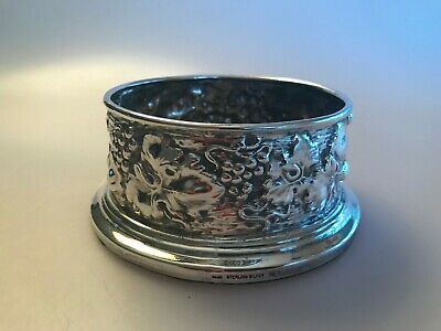 Galmer Sterling Silver Bottle Coaster Repousse Grapes Leaves Wine Champagne