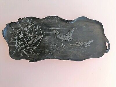 Aesthetic Movement Victorian Pen Pencil Ink Quill Tray Holder  Birds Antique