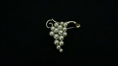 Solid 14K 585 yellow gold pearl grape cluster design pin/brooch 8.4 grams