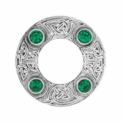Art Pewter Celtic Knot Dancers Plaid Brooch with Green Stone 249 (D/GRN)