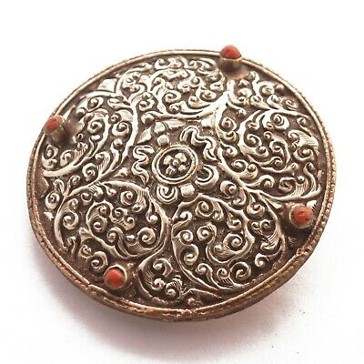 Repousse Antique Silver Plated Belt Buckle Nepalese Ethnic Tribal Handmade BK113
