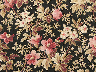 Antique French Fabric lovely black ground floral cotton material 19th century