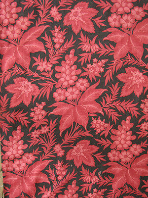 Fabric Antique French Black & deep raspberry red c1890 textile block printed