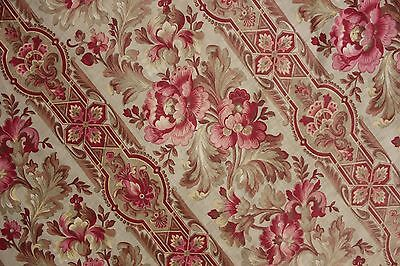 Fabric Antique Floral French printed cotton circa 1860 twill weave muted tones