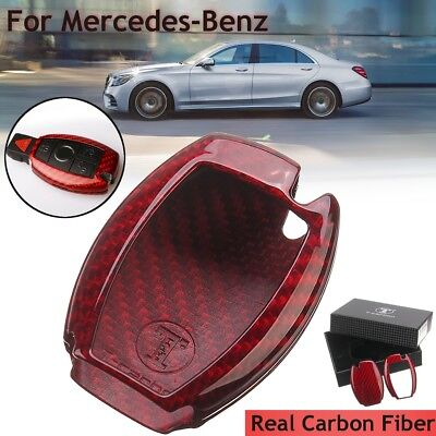 Red Real Carbon Fiber Remote Key Fob Cover Case For Mercedes-Benz C E S M GLK