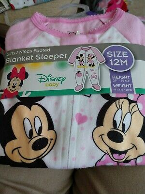 Disney Baby Mickey and Minnie Mouse Baby Sleeper Outfit Size 12 Months New