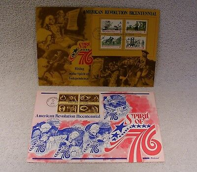 American Revolution Bicentennial - Presentation Cards w/ Stamps First Day Issue