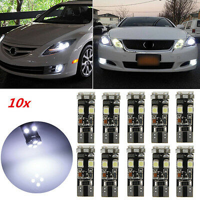 10x Veilleuses LED T10 W5W 8 SMD Canbus Anti Erreur ODB Blanc Pur Voiture Moto