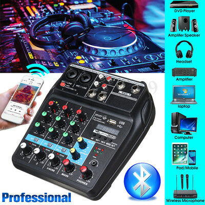 4 Channels USB bluetooth Studio Audio Mixer DJ Live Mixing Console 48V Phantom