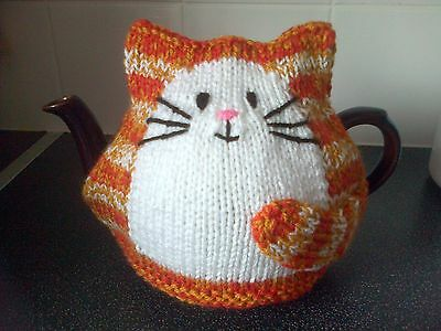 Cat Tea Cosy Hand knitted New ginger large for 2 pint pot
