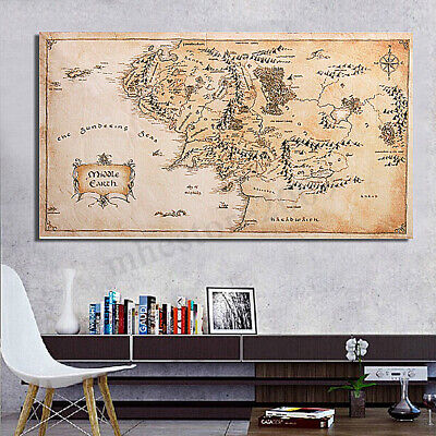 Retro Earth Map Lord Of The Rings Silk Cloth Poster Art Bedroom Home Decor 110CM