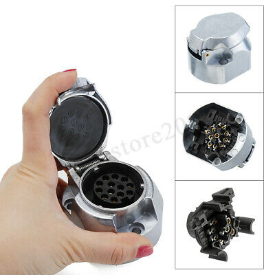 13 Pin Trailer Socket Aluminum Adapter Towbar Plug Socket Towing Car Van Caravan
