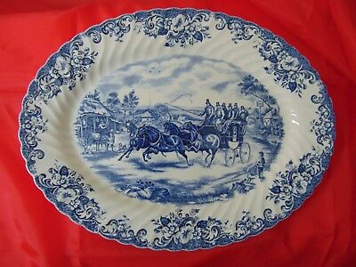 """Johnson Brothers Blue Coaching Scenes 14"""" Oval Platter Passing Through"""