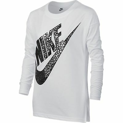 Nike Girl's Bold Logo Youth Small Long Sleeve White Top  MSRP $45.00
