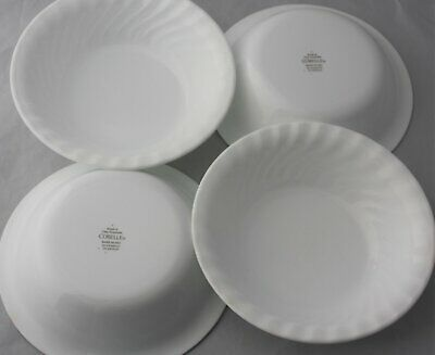 "Set 4 Enhancements White Swirl 7 1/4"" Lot Soup Cereal Salad Bowls Corelle Usa"