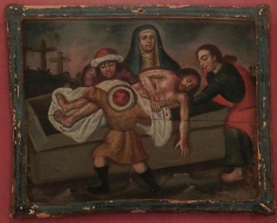 Antique Oil Painting~Spanish Colonial~Stations of the Cross~Jesus Christ in Tomb