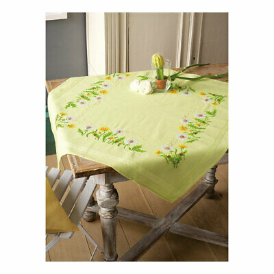 Embroidery Kit Tablecloth Dandelions Design Stitched on Cotton Fabric |80 x 80cm