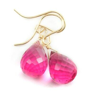 Hot Pink Sim Tourmaline Earrings Watermelon Briolette Teardrop Sterling 14k Gold