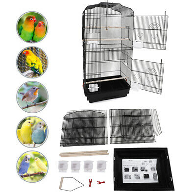 PORTABLE BIRD CAGES Pet Wire Carrier Perch Feeders Parrot Parakeet