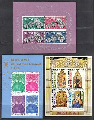 MALAWI 1960-70's COLL OF TEN DIFF S/S's CHRISTMAS, OLYMPICS, COINS, PEACE ALL NH