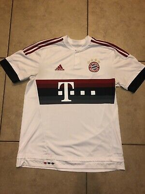 c0be0eece Adidas FC Bayern Munchen T-Mobile White Red Soccer Jersey Men's Large