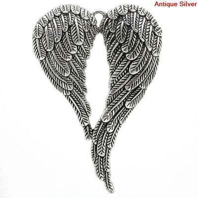 5Pcs Alloy Large Angel Wings Heart Antique Silver Charms Pendants Jewelry Gift