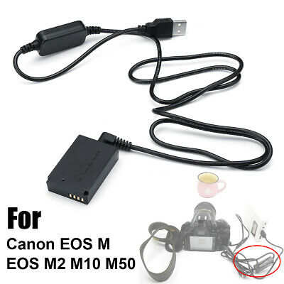 Power Charger Cable LP-E12 ACK-E12+DR-E12 Dummy Battery for Canon EOS M/M2/10/50