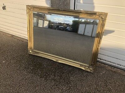 French Louis / Antique Style Gold Wooden Frame Large Bevelled Wall Mirror