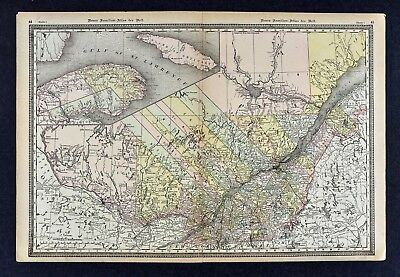 1891 McNally Map - Quebec Montreal Ottawa Gatineau Longueuil Laval Canada