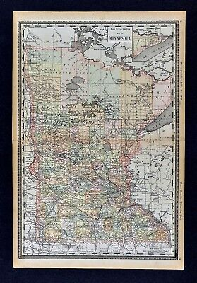 1891 McNally Map - Minnesota - Minneapolis St. Paul Duluth St. Cloud Ely Mankato