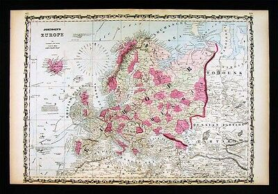 1860 Johnson Map - Europe - Italy France Germany Austria Spain Russia Britain