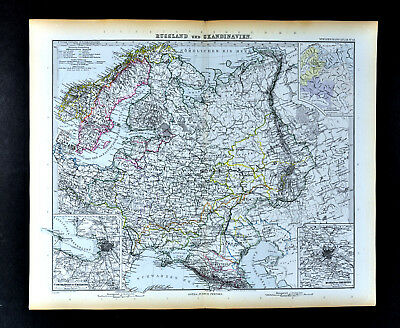1892 Stieler Map Russia Moscow St. Petersburg Poland Estonia Latvia Finland