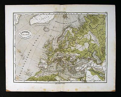 1865 Sydow Map - Physical Europe - Alps Pyrenees Mountains  Germany France Spain