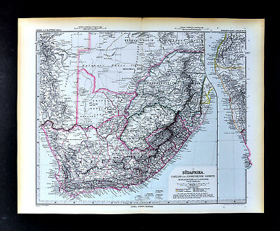 1892 Stieler Map British South Africa Cape Town Natal Kalahari Desert Good Hope