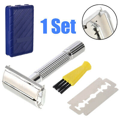 Men's Traditional Classic Double Edge Chrome Shaving Safety Razor With Blade