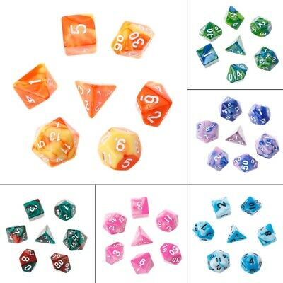 7pcs/Set Acrylic Polyhedral Dice For TRPG Board Entertainment Game Toy D4-D20