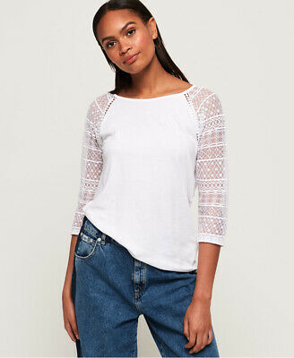New Womens Superdry Embroidered Long Sleeve Raglan Top Foxglove White