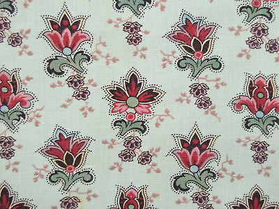 Chair Slipcover Floral Antique French mid 19th century block printed textile