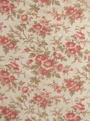 Antique French fabric floral pink & madder tones soft large 64 by 59 inches 1880