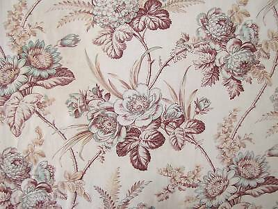 Antique French floral fabric lovely large scale design teal tone 1.2+ yards