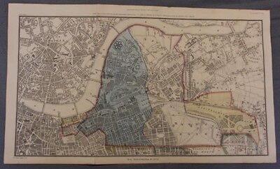 1835 Hand Colored Map of Westminster, London Showing the Extent of 1222 In Blue