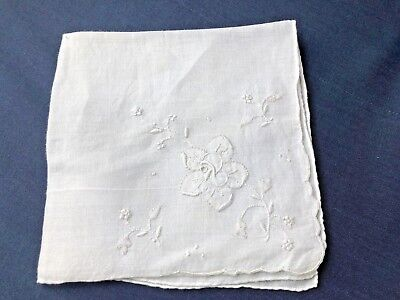 Vintage Madeira Linen White on White Embroidered Floral Handkerchief- ROSE