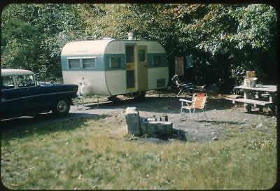 Relaxing at the Teardrop Camper Travel Trailer Vintage 1964 Slide Photo