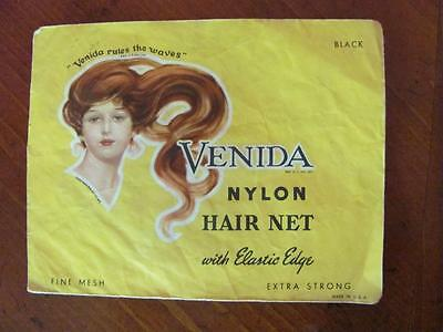 Vintage Venida Nylon Hair Net (Included) Fine Mesh Extra Strong Great Graphics