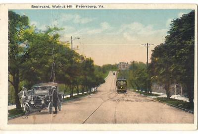 Car & Trolley On Boulevard Walnut Hill PETERSBURG VIRGINIA 1920s Postcard